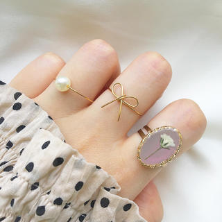 ピンクベージュ×かすみ草 リング3つセット(リング)