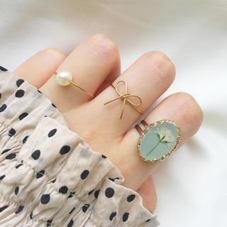 ピスタチオグリーン×かすみ草 リング3つセット(リング)