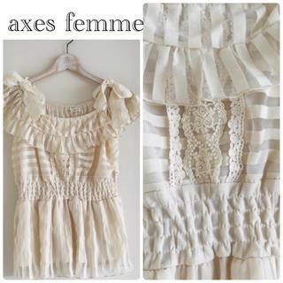 アクシーズファム(axes femme)の✳︎アクシーズファム✳︎シフォンリボンサマーブラウスカットソー✳︎ホワイト✳︎(シャツ/ブラウス(半袖/袖なし))