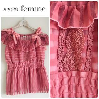 アクシーズファム(axes femme)の✳︎アクシーズファム✳︎シフォンリボンサマーブラウスカットソー✳︎濃ピンク✳︎(カットソー(半袖/袖なし))