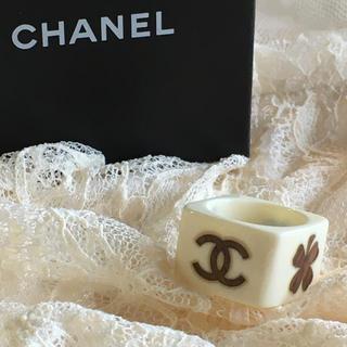 シャネル(CHANEL)のCHANEL シャネル ウッド素材 ココマーク スクエア リング 希少(リング(指輪))