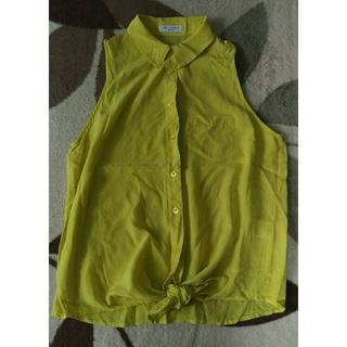 ルシェルブルー(LE CIEL BLEU)のノースリーブ シャツ シルク イエロー ルシェルブルー (シャツ/ブラウス(半袖/袖なし))