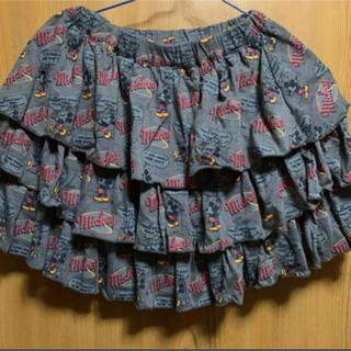 ディズニー(Disney)のミッキー柄 フリルスカート(グレー)(ミニスカート)