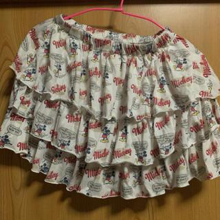ディズニー(Disney)のミッキー柄 フリルスカート(白)(ミニスカート)