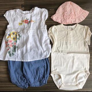 ネクスト(NEXT)のnext baby セットアップ ピンク帽子 リボン付き H&M ロンパース (Tシャツ/カットソー)