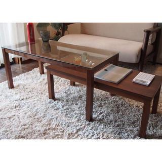 【送料無料】Nordic Walnut Nest Glass Table(ローテーブル)