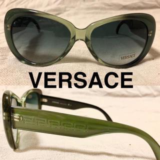 ヴェルサーチ(VERSACE)のVERSACE  サングラス グリーン クリアフレーム イタリア製 柄入り(サングラス/メガネ)