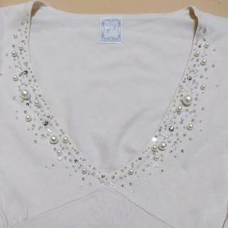 エフデ(ef-de)のパールビーズTシャツ(Tシャツ(半袖/袖なし))