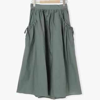 エヘカソポ(ehka sopo)のエヘカソポ サイドリボンポケットスカート/グリーンF(ロングスカート)