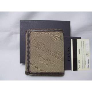 プラダ(PRADA)のPRADA プラダ 三つ折り財布 ベージュ 本物 ショップ印あり(折り財布)