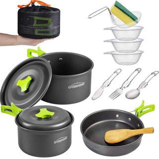 キャンプクッカーセット アウトドア 食器 アルミクッカー フライパン(調理器具)