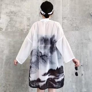 水墨画 法被 フリーサイズ(浴衣)