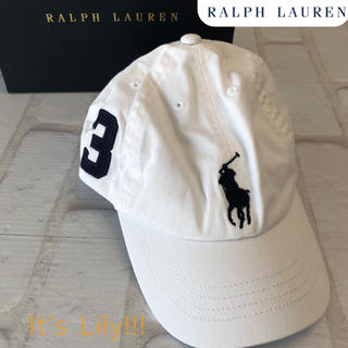 ラルフローレン(Ralph Lauren)の2-4t ラルフローレン 人気 白 ビックポニー キャップ(帽子)