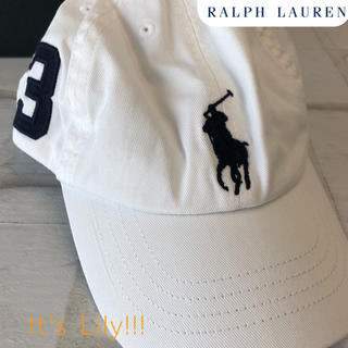 ラルフローレン(Ralph Lauren)の4-7歳 新作 ラルフローレン  ビックポニー キャップ 爽やか ホワイト(帽子)