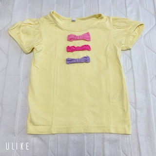 ニシマツヤ(西松屋)の西松屋リボントップス110 Tシャツ 女の子 黄色(Tシャツ/カットソー)