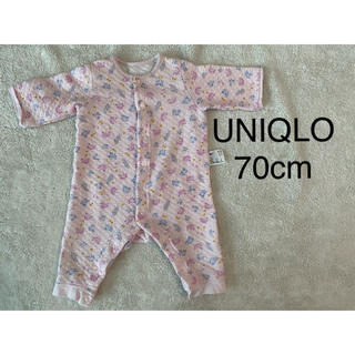 ユニクロ(UNIQLO)の70cm  UNIQLO キルトロンパース 花柄ピンク(ロンパース)