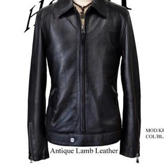 美品 Haruf Leather レザーライダースジャケット ブラック(ライダースジャケット)