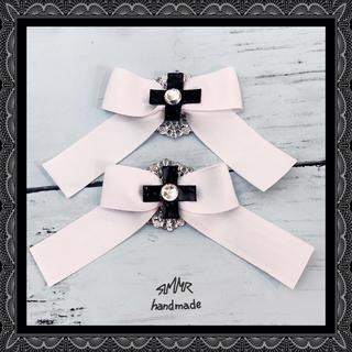 十字 リボン ヘアクリップ  2個セット(ヘアピン)