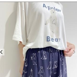 ジェラートピケ(gelato pique)のシロクマワンポイント冷感Tシャツ& ショートパンツ(ルームウェア)