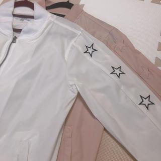 ヴァンスエクスチェンジ(VENCE EXCHANGE)の MA-1 薄手ブルゾン 星 刺繍 ペアルック くすみピンク&ホワイト(ブルゾン)