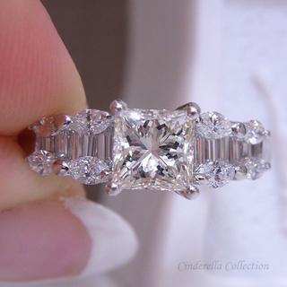 大特価★Pt900天然ダイヤモンド★1ctシリーズ★プリンセスのファンシーリング(リング(指輪))