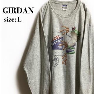 ギルタン(GILDAN)のGIRDAN ギルダン カエル フロッグ ロンT グレー 長袖 アニマル(Tシャツ/カットソー(七分/長袖))