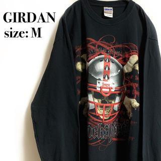 ギルタン(GILDAN)のGIRDAN ギルダン スカル 骸骨 アメフト Tシャツ フットボール(Tシャツ/カットソー(七分/長袖))