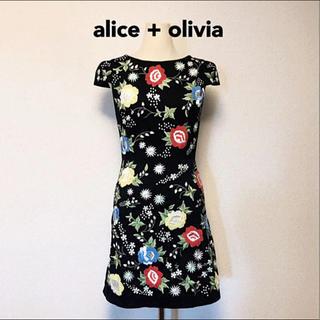 アリスアンドオリビア(Alice+Olivia)の美品 アリスアンドオリビア ワンピース 花柄 刺繍 カラフル 可愛い セレブ S(ひざ丈ワンピース)