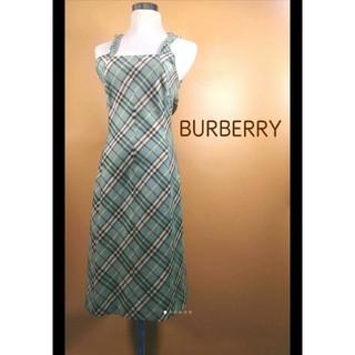 バーバリー(BURBERRY)のBURBERRY 美品 ノバチェック スモーキーミントグリーン(ロングワンピース/マキシワンピース)