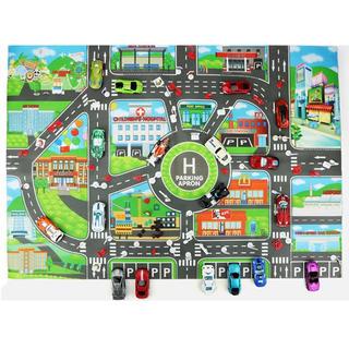 道路シート 道路マット レジャー ミニカー シート 車 おもちゃ 駐車場 (ミニカー)