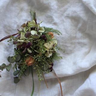 秋色紫陽花とナズナのスワッグ(ドライフラワー)