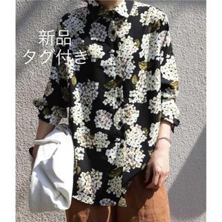 アンティカ(antiqua)の* antiqua * 紫陽花とブラックのコントラスト 花柄シャツ(シャツ/ブラウス(長袖/七分))