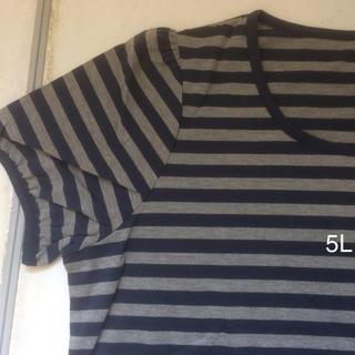セシール(cecile)の大きいサイズ  パフスリーブ  ボーダーシャツ  ネイビー(Tシャツ(半袖/袖なし))