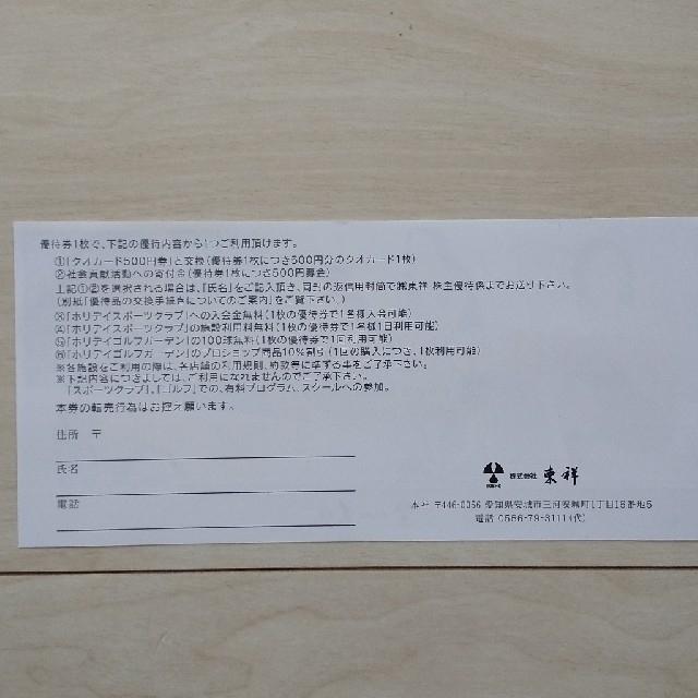 holiday(ホリデイ)の東祥 株主優待 2枚 チケットの施設利用券(フィットネスクラブ)の商品写真