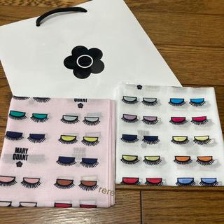 MARY QUANT - 新品 マリークワント アイホール柄 ハンカチ ピンク 白