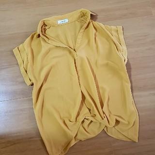 シマムラ(しまむら)のシアー スキッパーシャツ ブラウス(シャツ/ブラウス(半袖/袖なし))