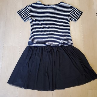 アフタヌーンティー(AfternoonTea)のafternoon tea wardrobe 2、3回着用 濃紺×白 黒チュール(ひざ丈ワンピース)