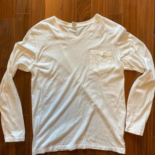 ビームス(BEAMS)のBEAMS Vネック ロングTシャツ 白(Tシャツ(長袖/七分))