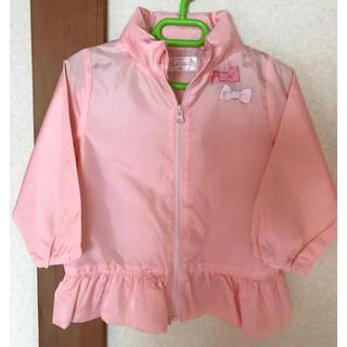ニシマツヤ(西松屋)の新品、未使用 女の子 リボンフリル ピンクレインコート ウィンドブレーカー(ジャケット/上着)