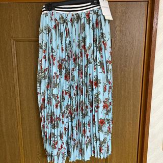 WEGO - ラインリブフラワーロングプリーツスカート