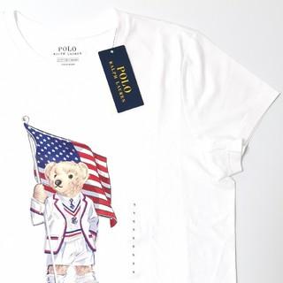 ラルフローレン(Ralph Lauren)のRALPH LAUREN レディース ポロベア 星条旗 ホワイト Tシャツ (Tシャツ(半袖/袖なし))
