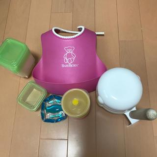 BABYBJORN - ベビービョルンエプロンとピジョン離乳食セット