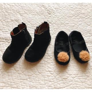 エイチアンドエム(H&M)の13.5/14cm●H&M…サイドゴアブーツ/ボンボンパンプスset●(ブーツ)