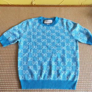グッチ(Gucci)のGUCCI ウール&コットン 半袖トップ パステル 水色(ニット/セーター)