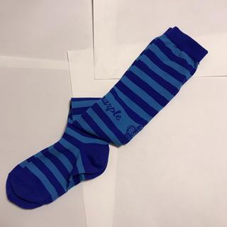 ジェーンマープル(JaneMarple)のJane Marple 青水色ボーダー 靴下 ソックス オーバーニー(ソックス)