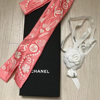 シャネル(CHANEL)のCHANEL 2020ss ヘアバンド スリムスカーフ ツイリー ピンク 完売(バンダナ/スカーフ)