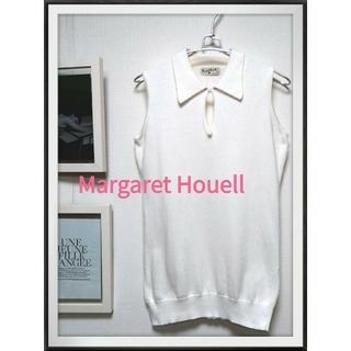マーガレットハウエル(MARGARET HOWELL)の★最終SALE★マーガレットハウエル 定番ポロシャツノースリーブ綿 白 M 上品(ポロシャツ)