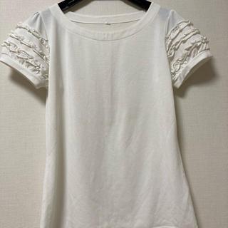ディーエイチシー(DHC)のTシャツ カットソー 袖フリル 白(カットソー(半袖/袖なし))