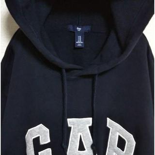 GAP - ギャップ 90s 刺繍ロゴ パーカー プルオーバー ネイビー レア ゆるだぼ。