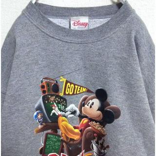 ディズニー(Disney)のディズニー スウェット 90s トレーナー ミッキー 古着女子 ゆるだぼ 薄手。(スウェット)